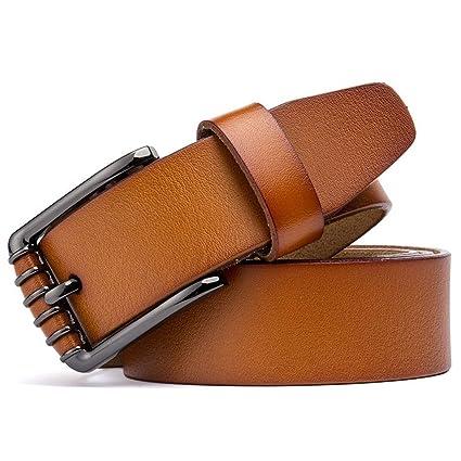 3c0508cc5e1 Styhatbag Cinturón de Hombre Cinturones clásicos para Hombres Cuero con  Hebilla de un Solo Diente Ocio
