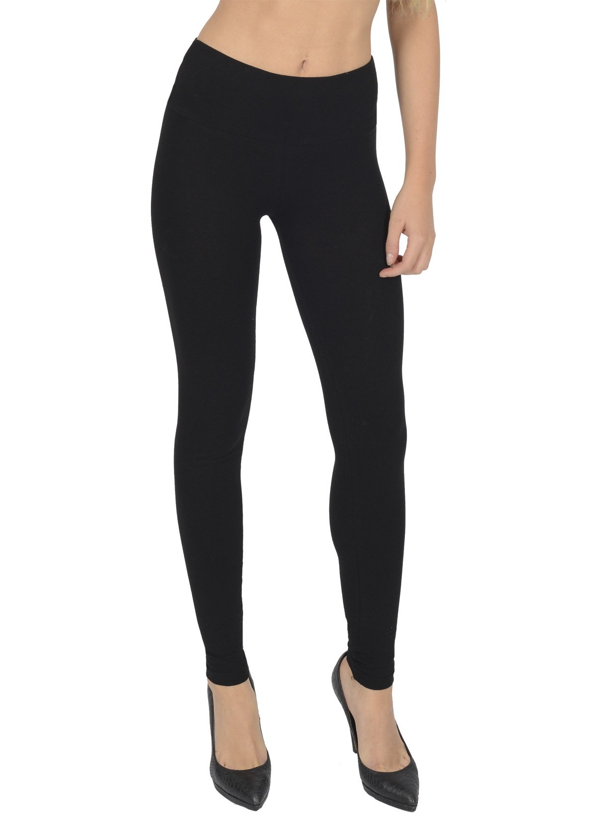 Today Is Her Women's High Waisted Full Length Cotton Leggings Extra Comfort Range, Plus Sizes - Size 12 Black