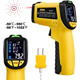URCERI Infrared Thermometer IR-817-58°F~1022°F (-50°C~550°C) Digital IR Temperature Gun Non Contact Laser with Color Display K-Type Thermocouple for Cooking Kitchen Food Meat Grill