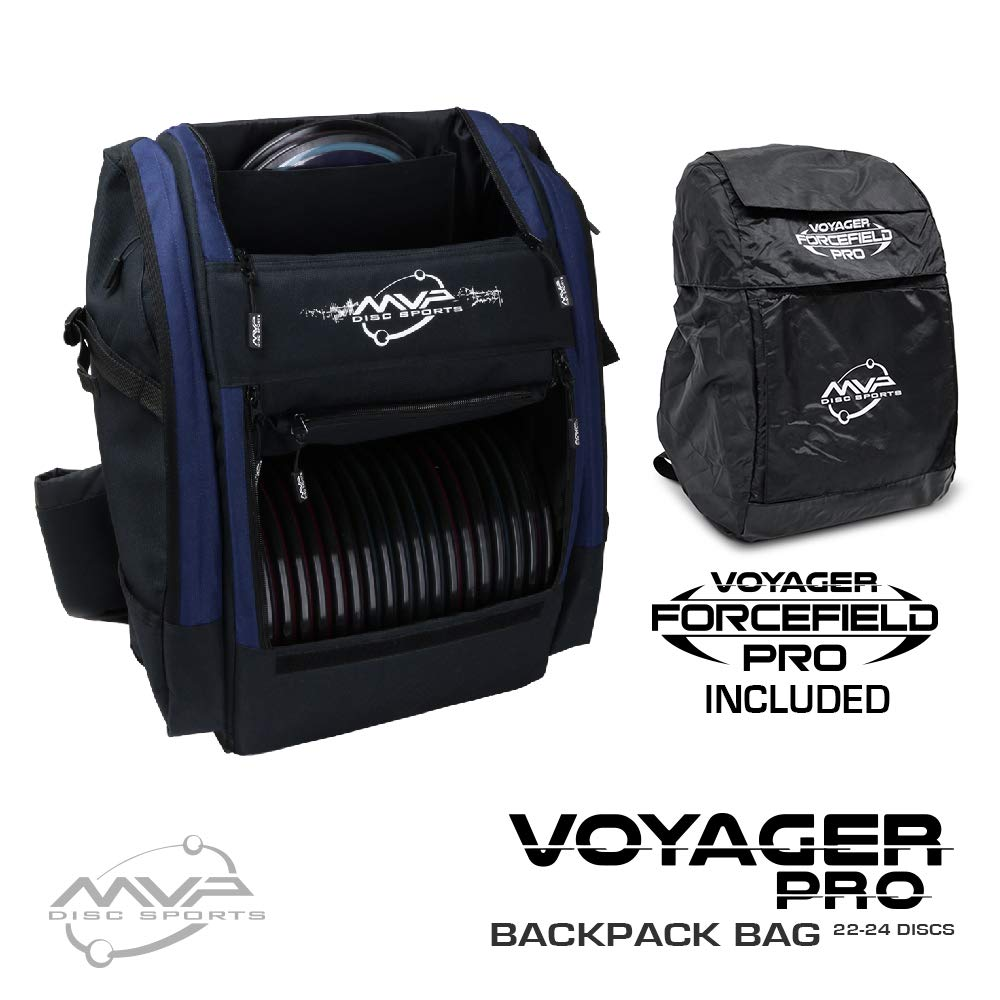 MVP Disc Sports Voyager Pro Backpack Disc Golf Bag with Forcefield Rainfly - Navy