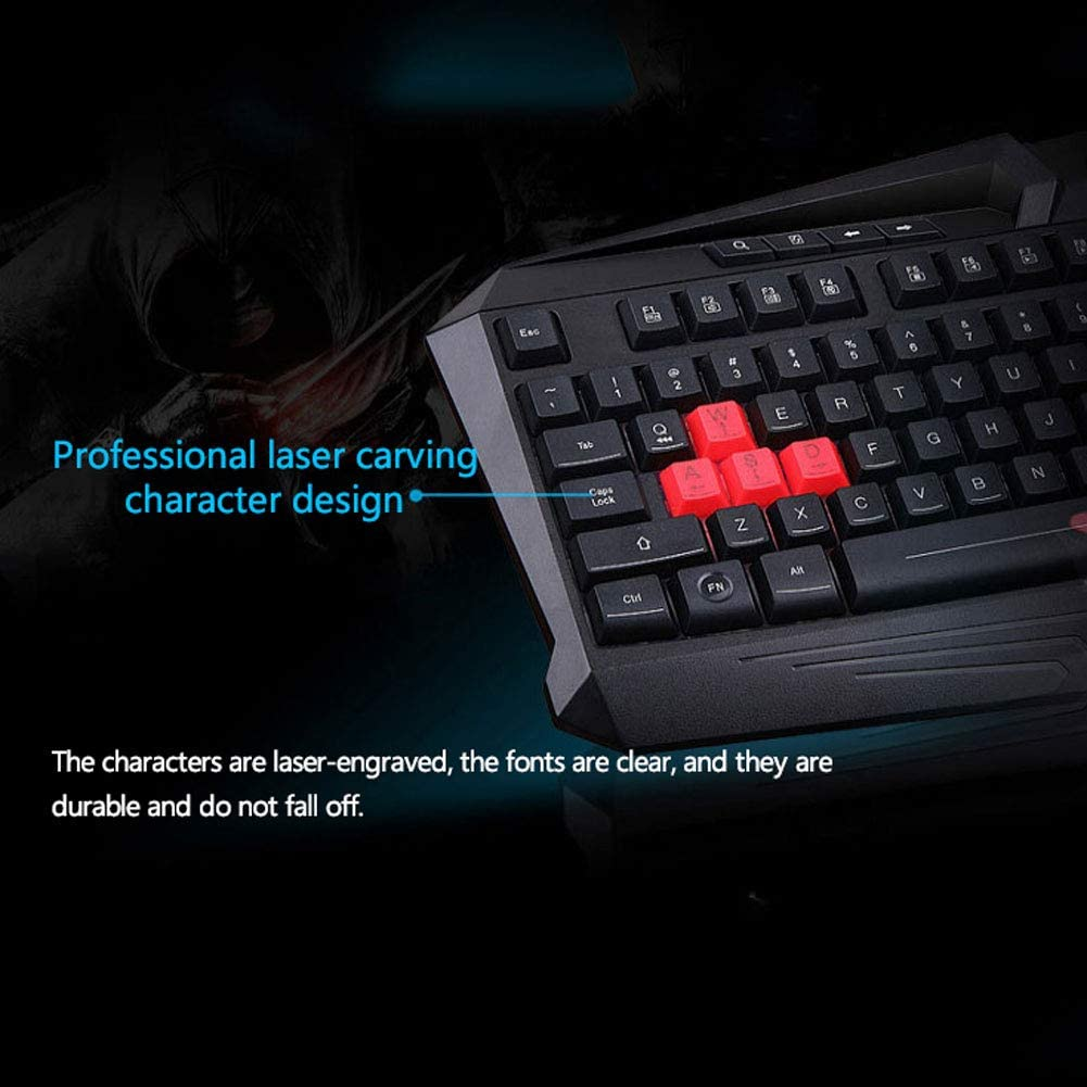 19 Keys Without Conflict Monochrome Backlit Wired Connection DEVINAIL Keyboard and Mouse Set Esports Dedicated