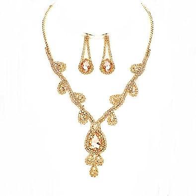 c576fcd3b Amazon.com: Women's Rich Peach Austrian Crystal Bling Earrings Rose ...
