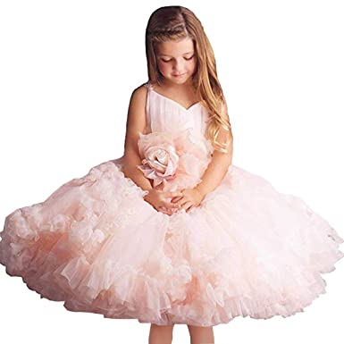 cc3c7d0f1f9 Pink Flower Girl Dresses V-Neck Long Tulle Puffy Ball Gown Party Sleeveless  Bridesmaid Lace