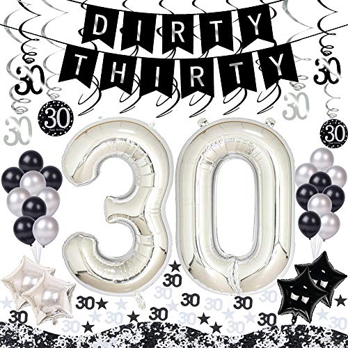 AHAYA 30th Birthday Decorations Kit 50 Pieces Silver & Black – Dirty Thirty Banner, 40-Inch 30 Balloons, Sparkling 30 Hanging Swirls, 30 Confetti for Table Decorations, 30th Birthday Plan Checklist