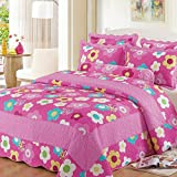 Vesna Paisley Reversible Coverlet 3-Piece Patchwork Quilt Set with Shams Soft Cotton Art Pink Flower Bedspread&Comforter Queen Size Summer Blanket 1 Quilt 2 Pillow Shams Boy Girl Gift