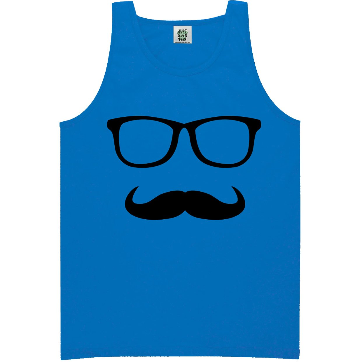 ZeroGravitee Youth Mustache and Glasses Bright Neon Blue Tank Top - Large