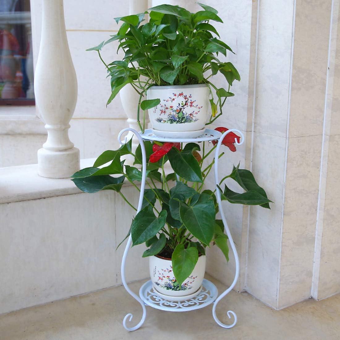 MAJOZ 2 Niveles Maceteros Porta Macetas Metal Decorativos/Soporte de Pie/Estante Vintage para Macetas Pedestales Flores Plantas, para Jardín Dormitorio Sala de Estar Oficina Balcón Interior (Blanco)