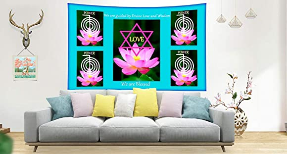 Trishakti Wellness Reiki Tapestry Wall Hanging Room Decor – Size 59 x 39 , Elegant Look Soft Touch, Brings Positive Energy Vibe and Purity and Peace, Healing Wall Art