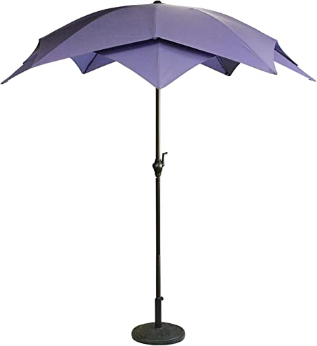 LB International 6.5 Outdoor Patio Lotus Umbrella with Hand Crank, Purple