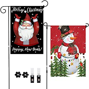 2Pack Christmas Yard Flags Snowman Santa Merry Christmas Garden Flags Happy New Year Decoration Double-Sided Front Door Outside Flags,Winter Holiday Snow Decor Burlap Flags with Clips Stoppers