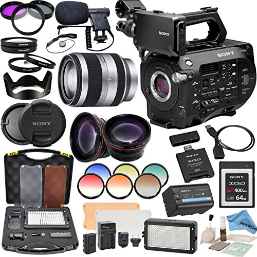 Sony PXWFS7 XDCAM Camera With Sony E-Mount 18-200mm Lens, Professional 162 LED Light Kit, Sony 64GB G Series XQD Format Version 2 Memory Card and more... by eDigitalUSA