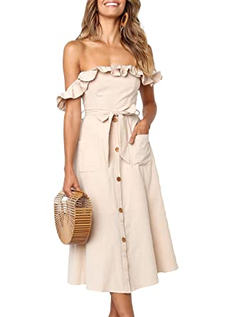 2aab41433a Dearlove Women's Off Shoulder Button Down Tie Waist Casual Midi Dress with  Pocket at Amazon Women's Clothing store: