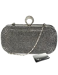 kilofly One Ring Clutch Handbag Purse Hard Case, Rhinestone Crystal + Money Clip