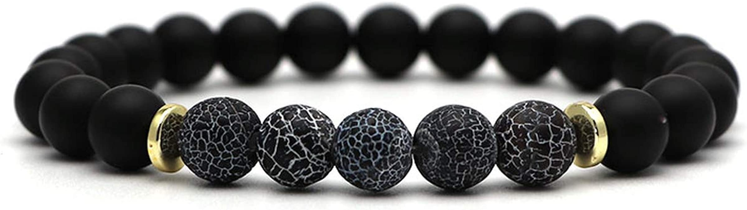 Hynsin Natural Stone Bracelet Men Jewelry Six-Word Mantra Tiger Eye Beads Stretch Bracelet for Women Men Lucky Bracelets /& Bangles