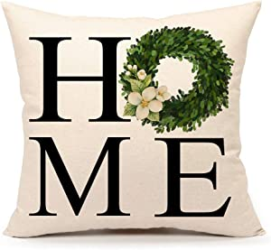 4TH Emotion Fall Boxwood Wreath Home Throw Pillow Cover Farmhouse Autumn Cushion Case for Sofa Couch 18x18 Inches Cotton Linen