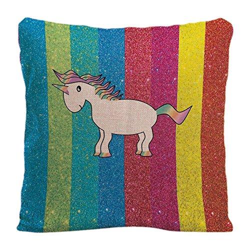 Glittery Rainbow Pillowcase Home Life Cotton Cushion Case 18 x 18 inches
