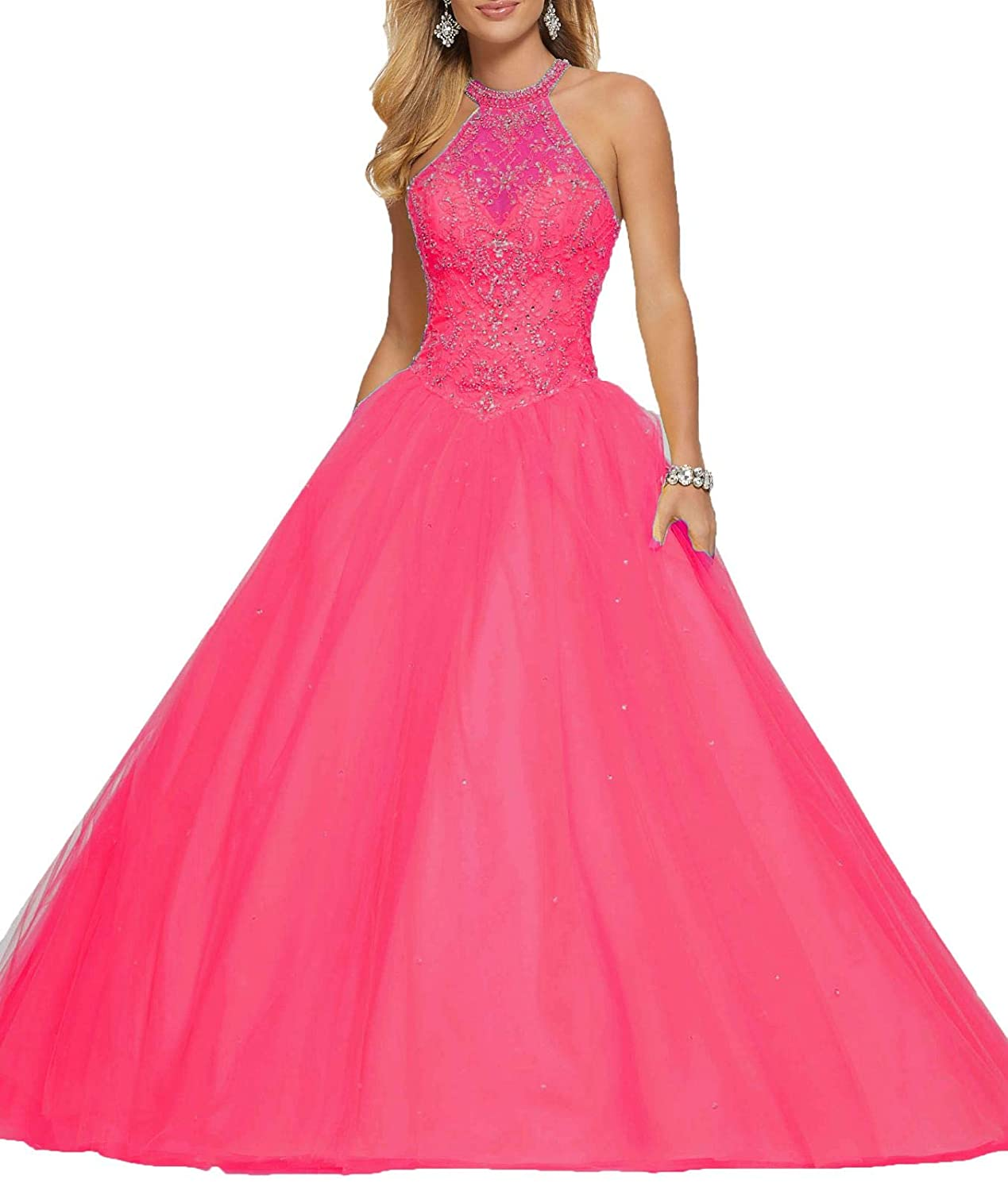 Pink2 Wanshaqin Women's High Neck Lace Prom Ball Gowns with Beading Appliques Quinceanera Dresses Tulle