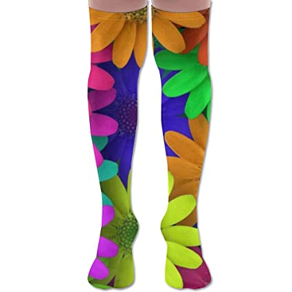 Over Knee High Socks Colored Flowers Extra Long Athletic Sport Tube Stockings For Man Women