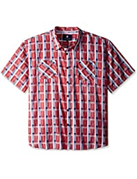 Men's Big and Tall Plaid Short Sleeve Woven Pattern 12