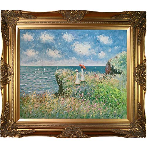 - overstockArt Cliff Walk at Pourville Painting with Victorian Gold Frame by Monet