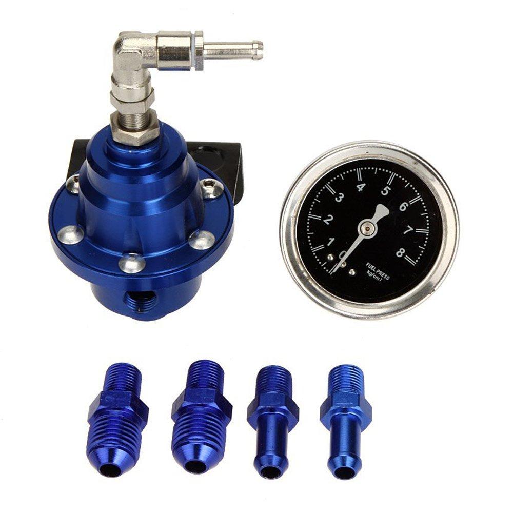 SODIAL(R)High Performance Car Fuel Pressure Gauge Adjustable Fuel Pressure Regulator Blue 055334A3