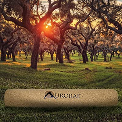"Aurorae PRO Natural Cork/Rubber Yoga Mat, Slip Free, Safe Non-Toxic, Free of PVC, TPE, Chemicals/Plastics. Biodegradable and Recyclable, Anti Static, Breathable, 73"" x 24 1/2"" x 5mm Thick."