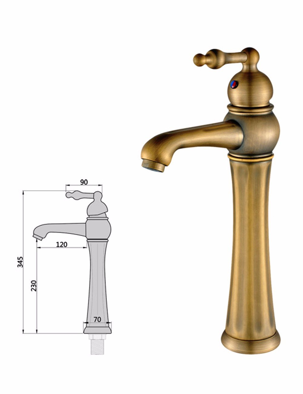 Hlluya Professional Sink Mixer Tap Kitchen Faucet Antique faucet, copper-colord wash hand basins, surface basin, the basin faucet, hot and cold water wash-basin mixer