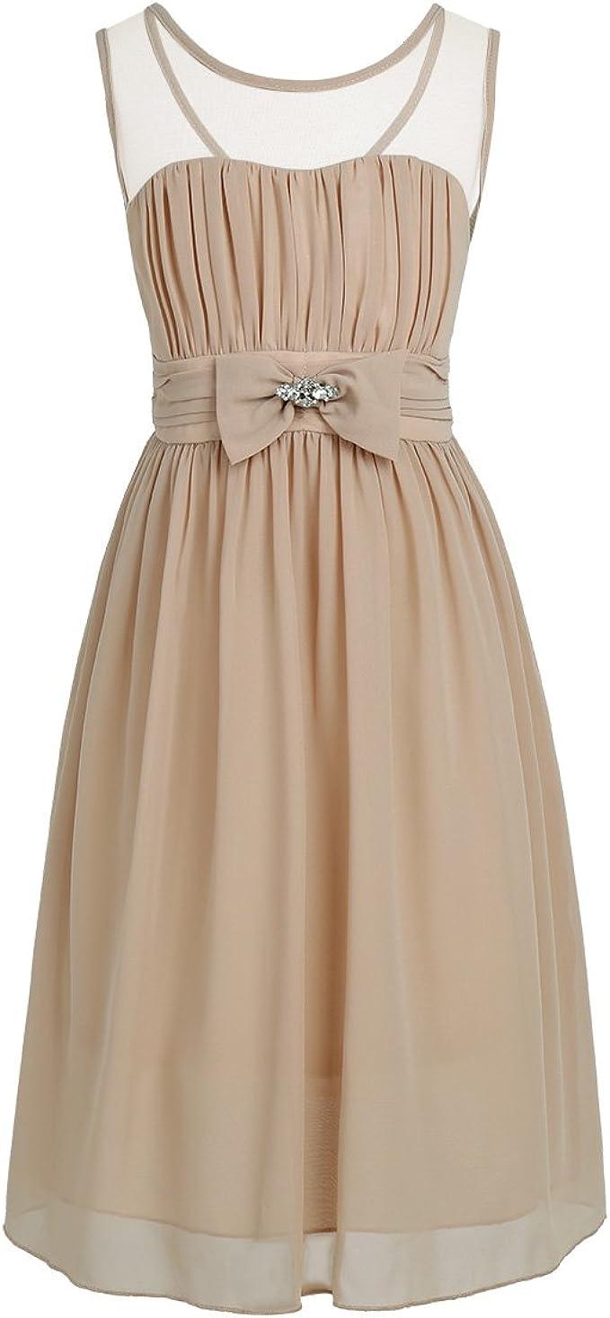 iiniim Mädchen Kleid Chiffon Prinzessin Kleid Blumenmädchenkleid festlich  Hochzeit Partykleid Sommer Festzug Gr.18-18