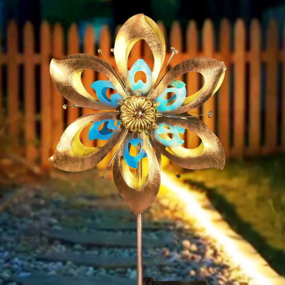 Outdoor Solar Wind Spinner Garden Lights with Metal Stake, Waterproof Solar Stake Light Flower Art Garden Decor Dual Rotors Wind Catcher for Patio Lawn Pathway Yard Walkway Holiday Decoration
