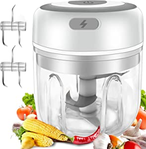 Electric Mini Food Chopper 250ML, Portable Waterproof Garlic Press Chopper with USB Charging, Powerful Small Food Processor Garlic Masher /Blender For Pepper Meat Chili Vegetable Nuts