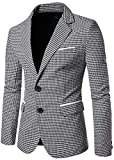 xtsrkbg Men Lapel Long Sleeve Single Breasted Houndstooth Blazer Jacket 1 XS