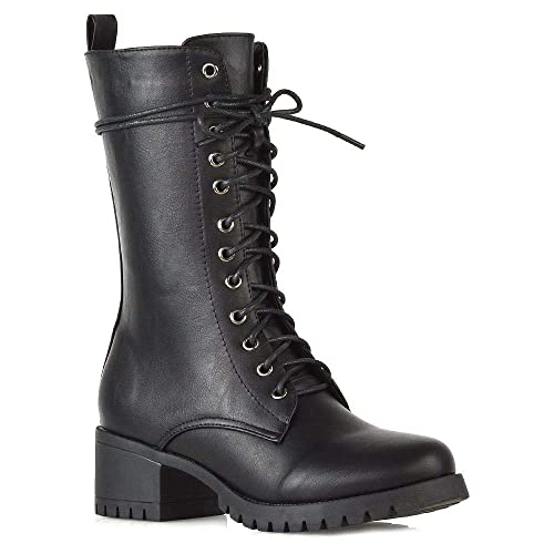 0eccd05886bc6 ESSEX GLAM Womens Lace Up Mid Calf Chunky Block Low Heel Boots ...