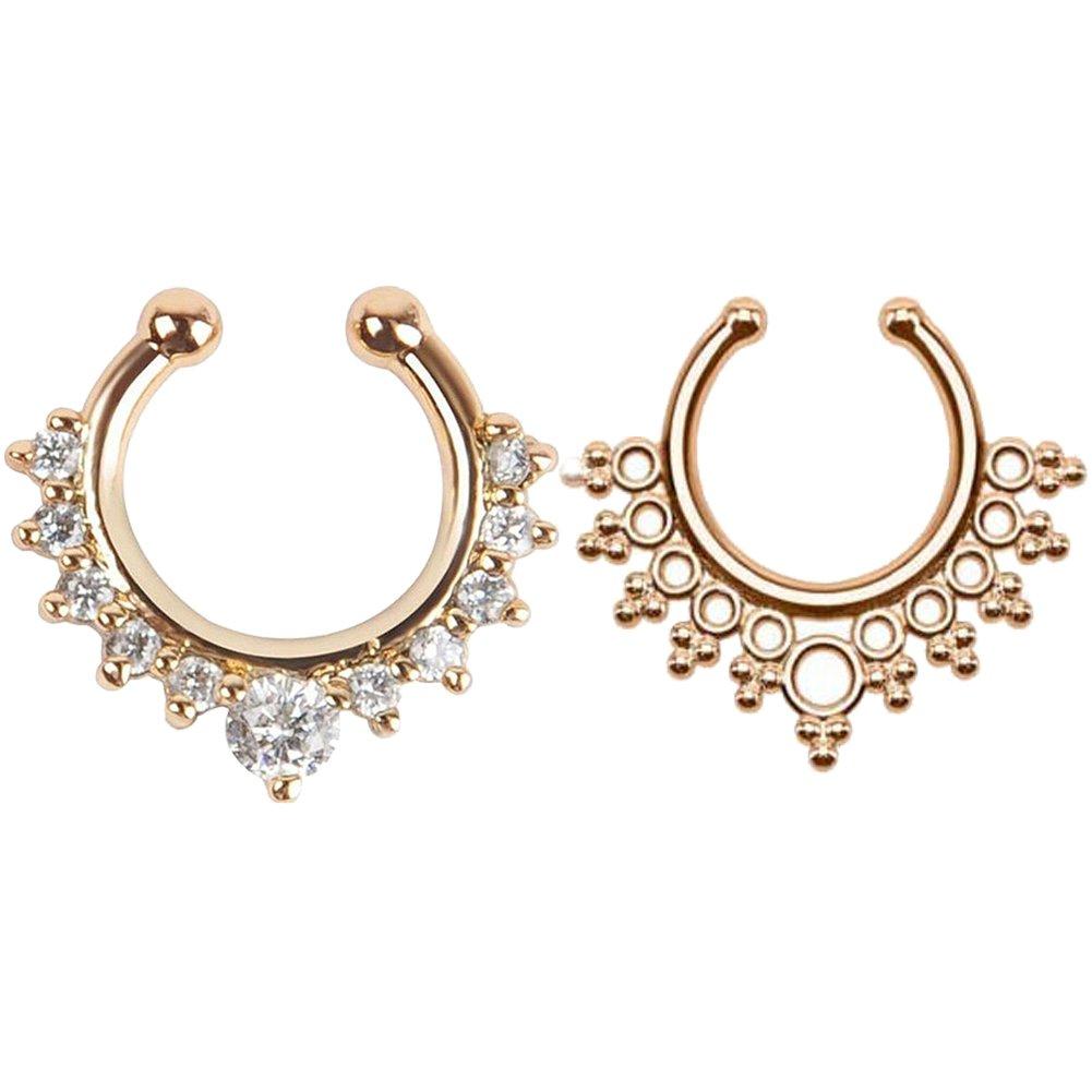 2 Stück Fake Nase Ring Septum Piercing Schmuck für Frauen nicht Piercing Clip auf Körper Piercing Schmuck GOOTUUG BDOIEE-012