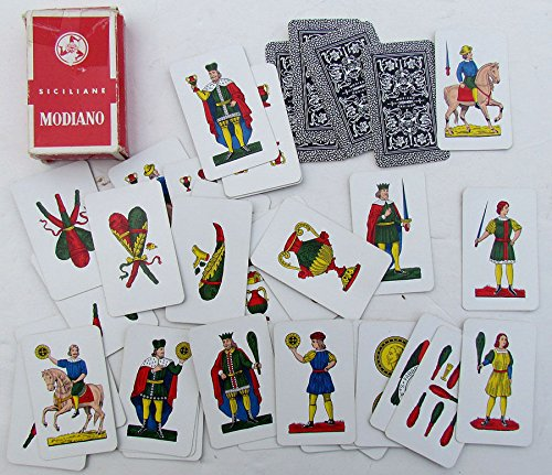 VINTAGE ITALIAN SICILIANE MODIANO PLAYING CARDS COMPLETE DECK w/ BOX