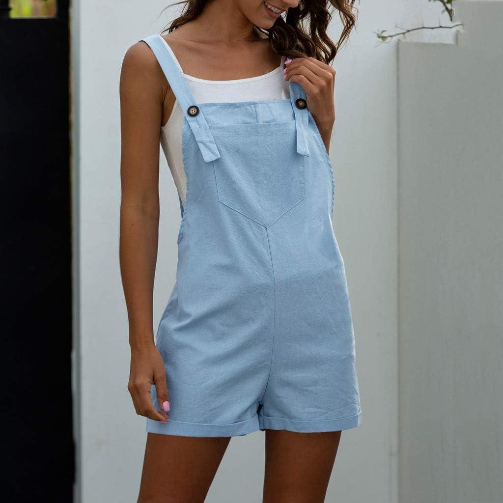 TOTOD Ladies Jumpsuit Women Fashion Solid Color Pocket Button Casual Strap Shorts Jumpsuits