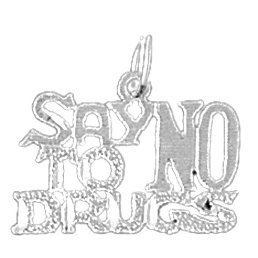 Rhodium-plated 925 Silver Say No To Drugs Saying Pendant with 30 Necklace Jewels Obsession Saying Necklace