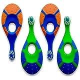 Baby Toddler Toothbrush 4 pack - Trueocity - Soft Bristles - Teething Finger Handle Toothbrushes for 0 to 3 Years - Boy First Set (2 Blue/Orange & 2 Green/Blue) - BPA Free