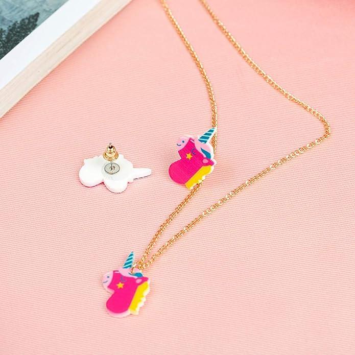 eb5798b85948 FENICAL Conjunto de aretes de Collar de Unicornio Juego de aretes de  animalitos de Dibujos Animados (Color al Azar)  Amazon.es  Joyería