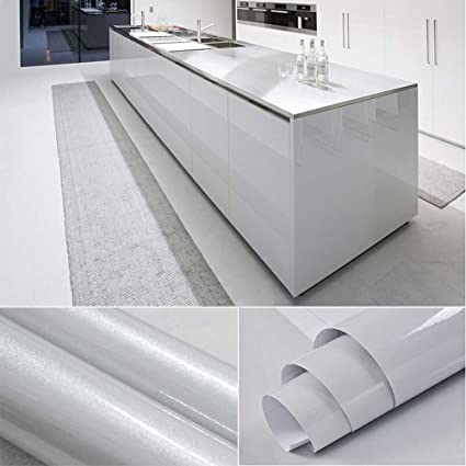 Yenhome Vinyl Contact Paper Waterproof 24 X 393 Glossy Gray Removable Self Adhesive Shelf Liner For Kitchen Cabinets Cover Wallpaper Decorative Peel