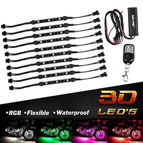 10pcs Motorcycle LED Light Kit RGB Multi-Color Flexible Strips Ground Effect Light Kit with Wireless Remote Control - Light Ground Effect Kit