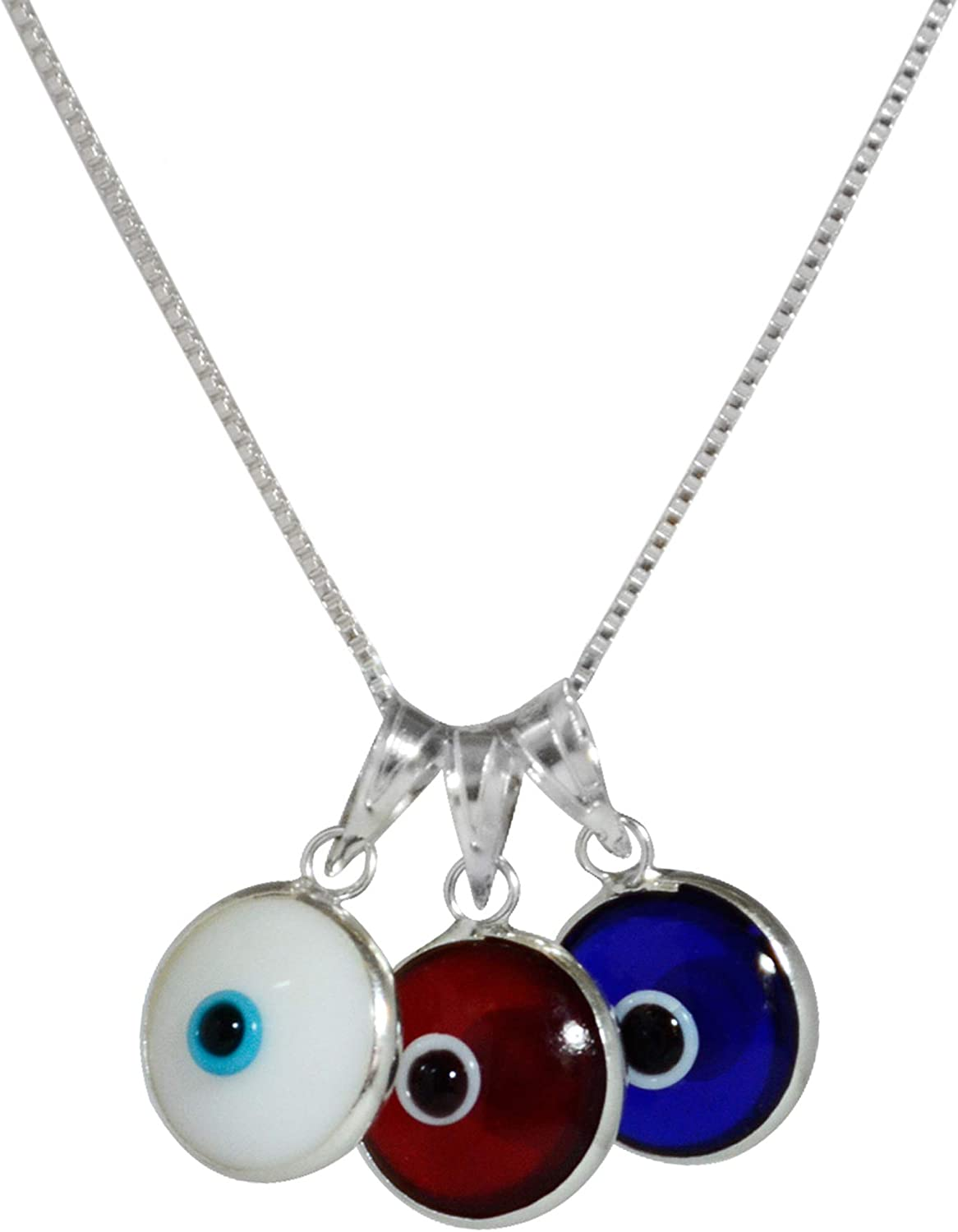 White Sterling Silver Charm Pendant Red Blue 25 mm 23