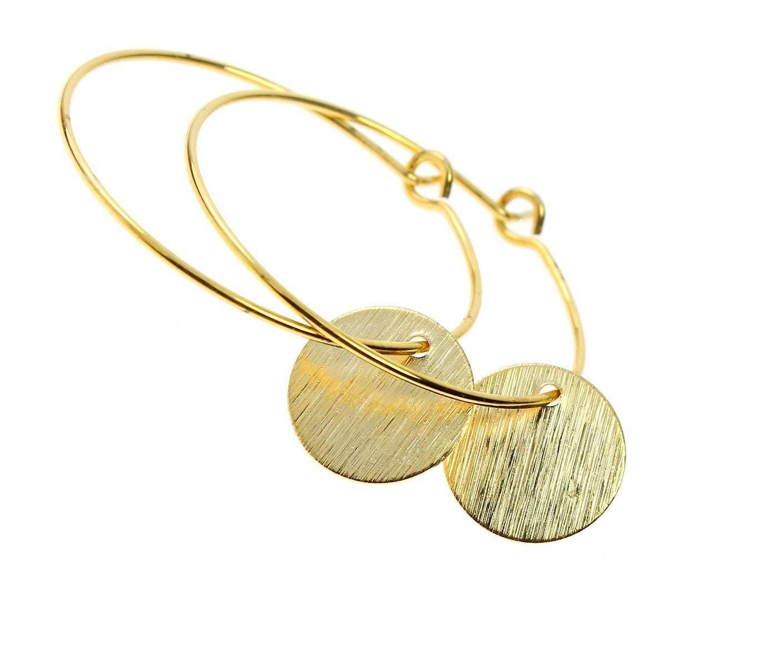 Ohrringe Creolen vergoldet Plättchen-Anhänger Anhänger Ohrhänger Damen