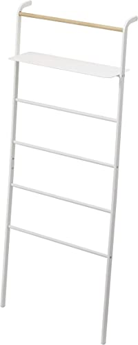 YAMAZAKI home Tower Leaning Ladder With Shelf White