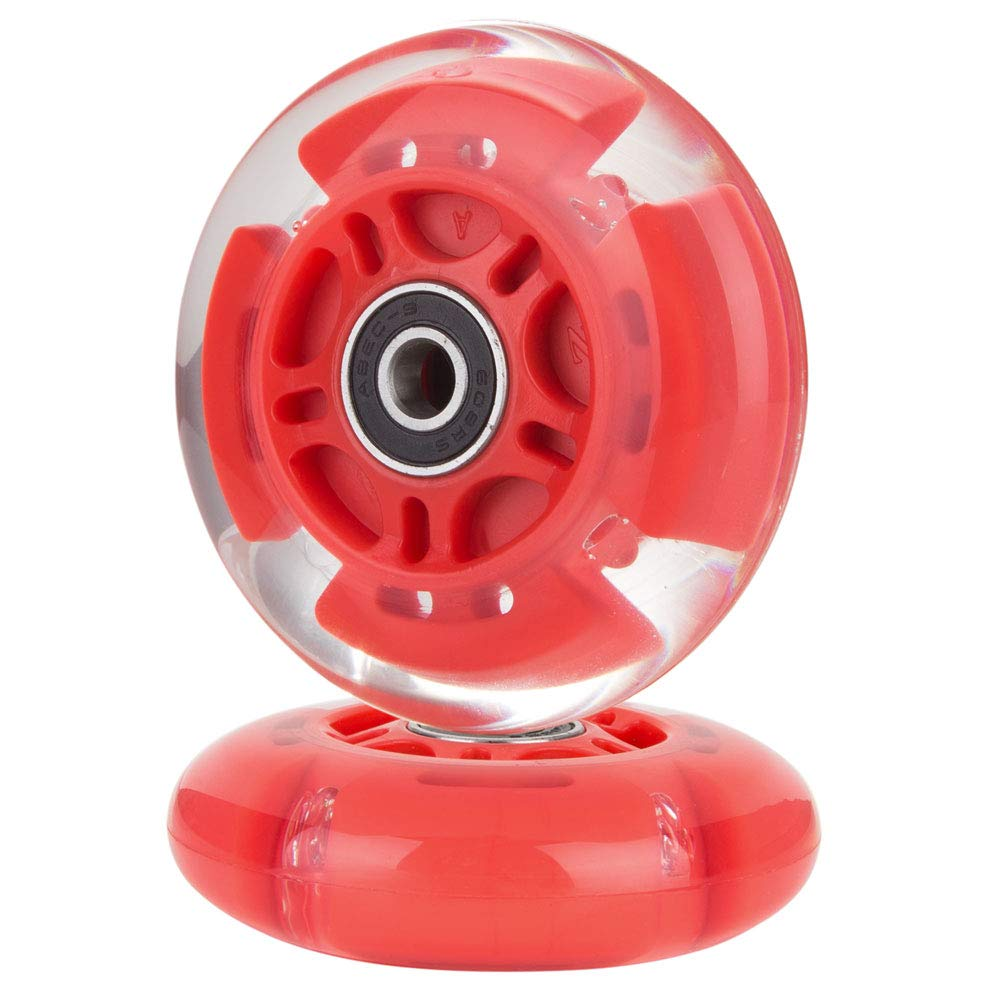 AOWISH 2-Pack Light Up Scooter Rear Wheels 80mm LED Flashing Inline Skates Replacement Wheel with Bearings ABEC-9 for Toddle Kids Adjustable 3-Wheel Kick Scooters (Red) by AOWISH