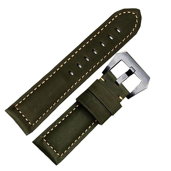 NW Pantorrilla 26 mm Correa de Reloj de banda Fit de piel color verde Panerai Ejército