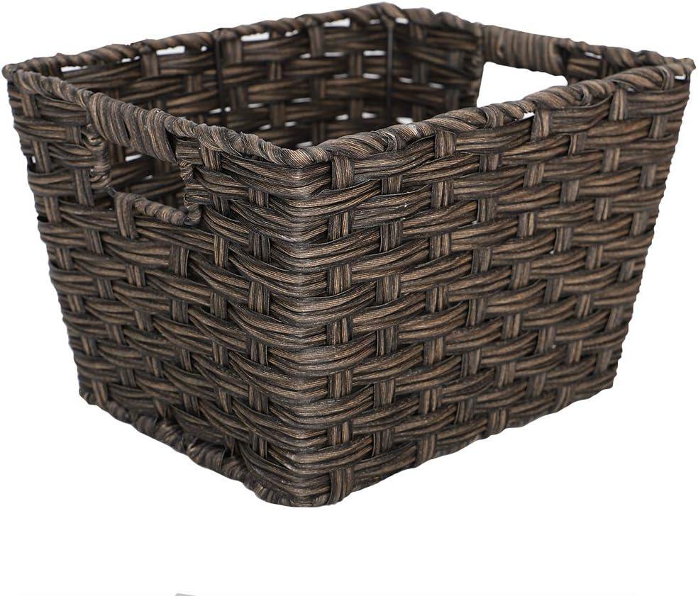 Home Basics Medium Faux Rattan Basket, Coffee