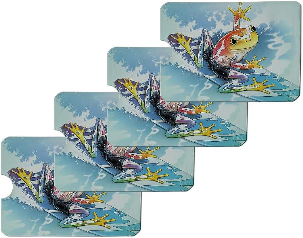 Surfing Surf Rainforest Tree Frog Tropical Credit Card RFID Blocker Holder Protector Wallet Purse Sleeves Set of 4