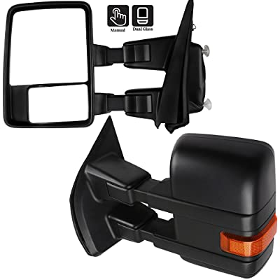SCITOO fit Ford F150 Towing Mirrors Exterior Automotive Mirrors with Reflector Black Rear View Mirrors fit Ford F150 2015-2020 with Manual Control Manual Telescoping and Folding Features: Automotive
