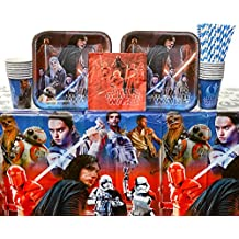 Star Wars Episode 8 - The Last Jedi Party Supplies Pack for 16 Guests: Straws, Dinner Plates, Luncheon Napkins, Cups, and Table Cover (Bundle for 16)