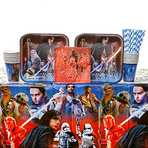 Cedar Crate Market Bundle: Star Wars Episode 8 - The Last Jedi Party Supplies Pack for 16 Guests: Straws, Dinner Plates, Luncheon Napkins, Cups, and Table Cover (Bundle for 16)
